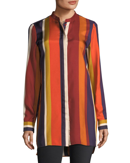 Lafayette 148 New York Brayden Striped Silk Blouse
