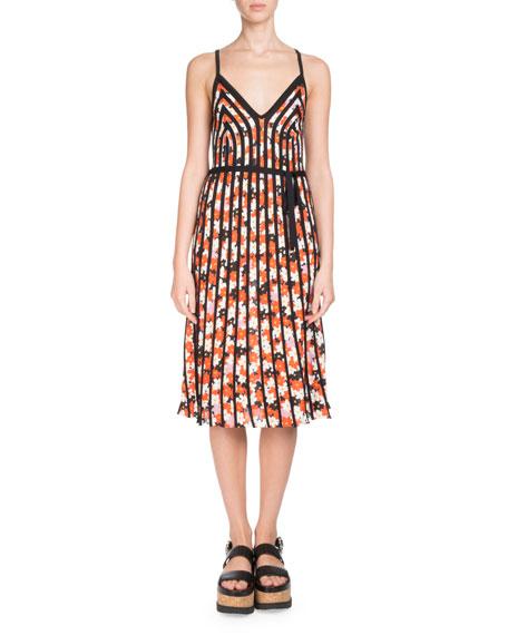 Sleeveless Floral-Print Striped Midi Dress
