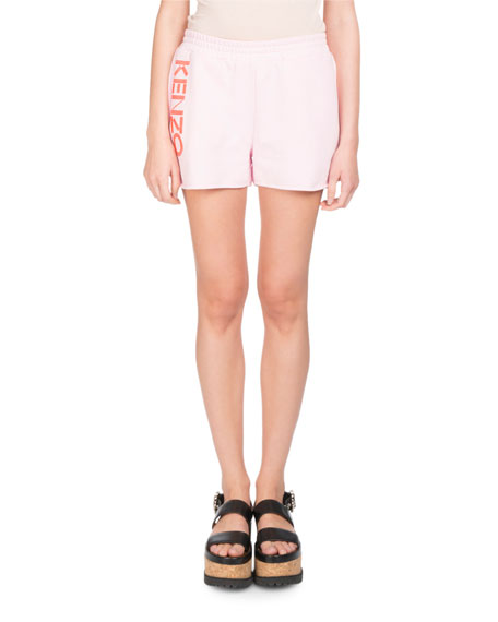 Printed Cotton-Fleece Shorts in Pink