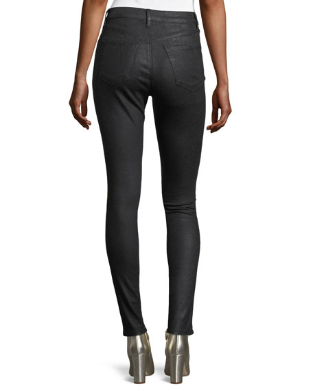 Maria Mid-Rise Skinny Coated Denim Jeans