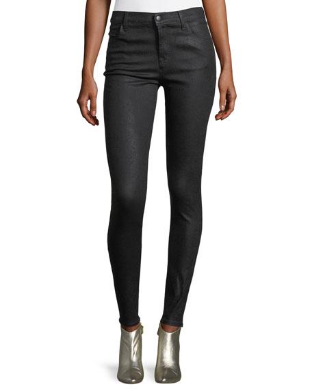 J Brand Maria Mid-Rise Skinny-Leg Coated Denim Jeans