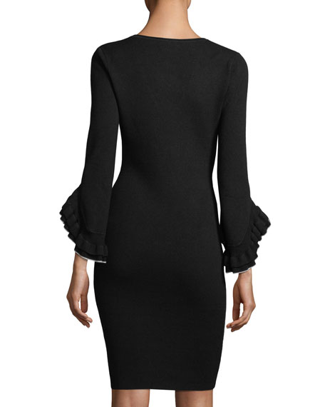 Layered Ruffle-Sleeve Sheath Dress