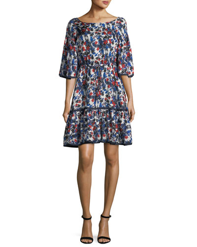 Rose Hibiscus-Print Silk Dress