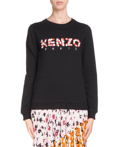 Kenzo Classic Crewneck Floral-Logo Sweatshirt and Matching Items