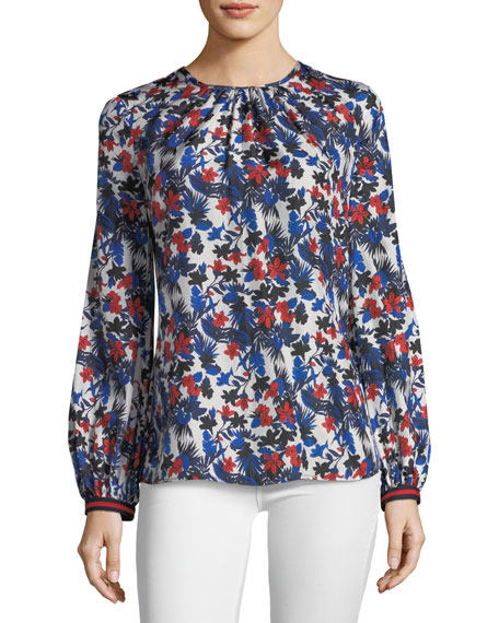 Milly Mandy Hibiscus-Print Silk Top