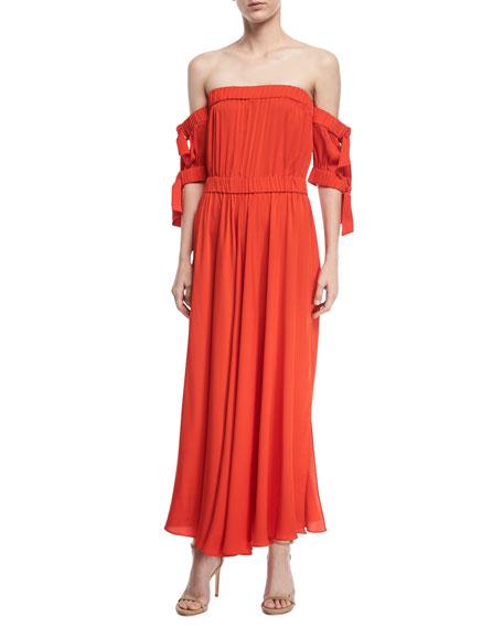 Milly Zoey Stretch Silk Off-Shoulder Maxi Dress