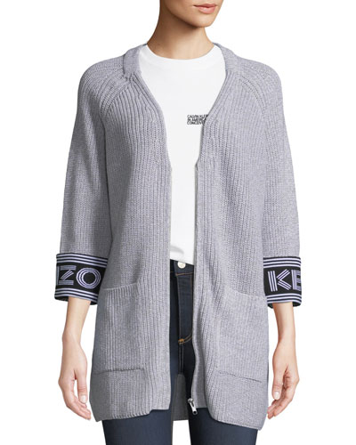 Zip-Front Sport Long Cardigan