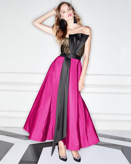 Vesta Strapless Two-Tone Midi Gown