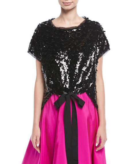 Besant Short-Sleeve Sequin Top