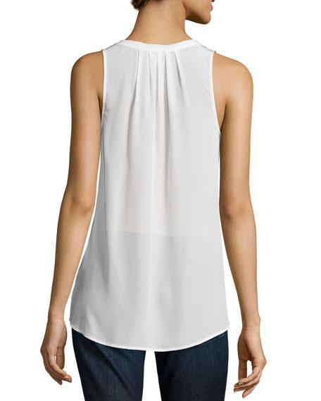 Aruna Split-Neck Silk Top