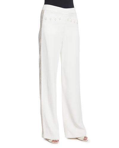 Wide-Leg Flat-Front Tuxedo Pants, Ivory