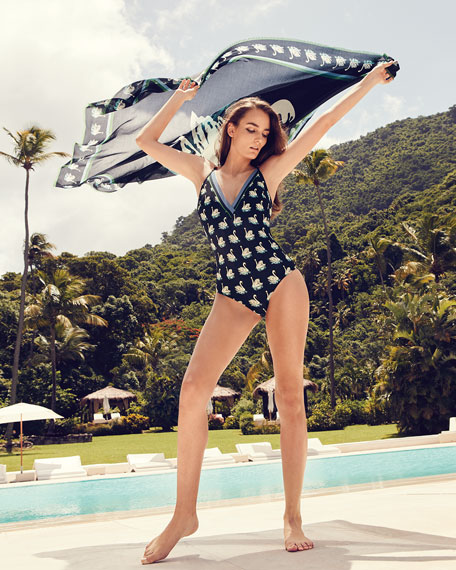 Iconic Swan-Prints Plunging One-Piece Swimsuit