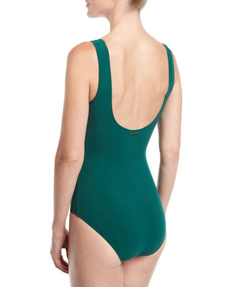 Scoop-Neck Lacing One-Piece Swimsuit