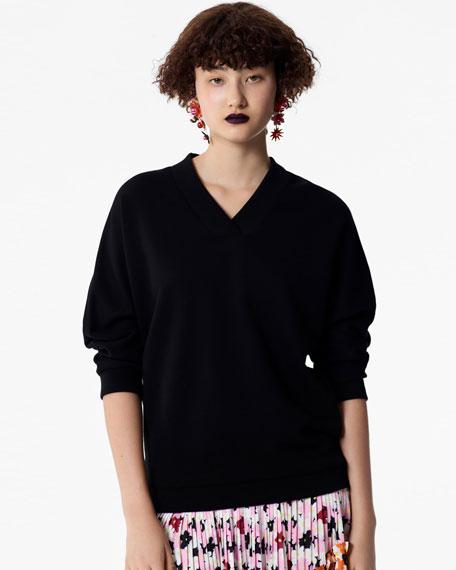 V-Neck Logo Sport Pullover Sweatshirt