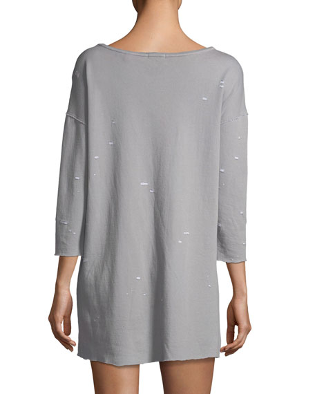 Double-Faced Jersey Destroyed-Wash Dress