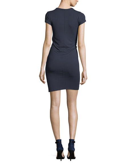 Crewneck Pima Cotton Jersey Fitted Mini Dress