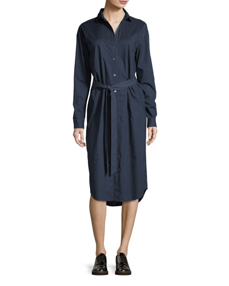Tie-Waist Cotton Poplin Shirtdress