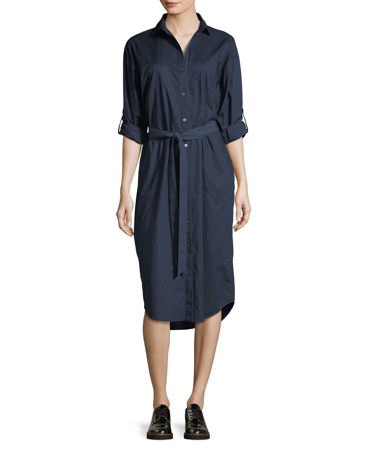 Atm Anthony Thomas Melillo Tie Waist Cotton Poplin Shirtdress