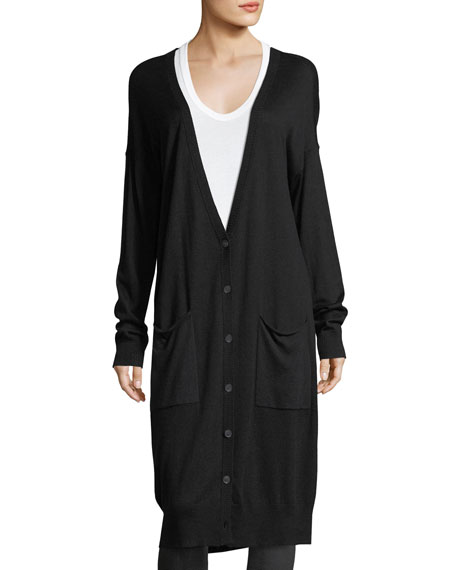 ATM Anthony Thomas Melillo Silk-Wool Long V-Neck Cardigan