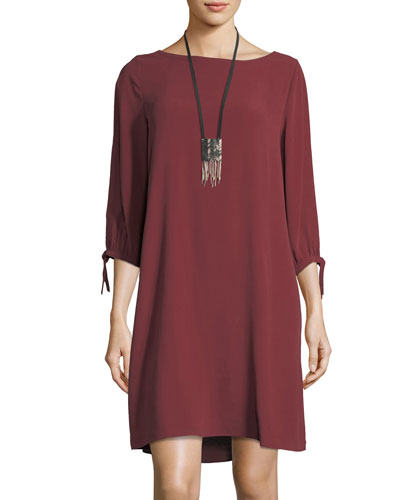 Silk Georgette Tie-Sleeve Shift Dress, Petite