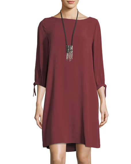 Eileen Fisher Silk Georgette Tie-Sleeve Shift Dress, Petite