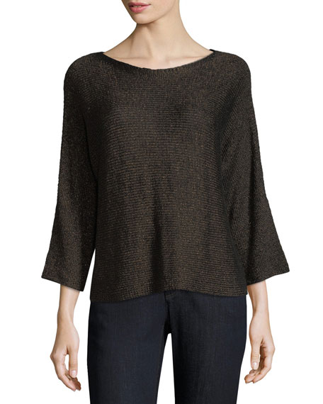 3/4-Sleeve Shimmer-Chainette Top, Petite