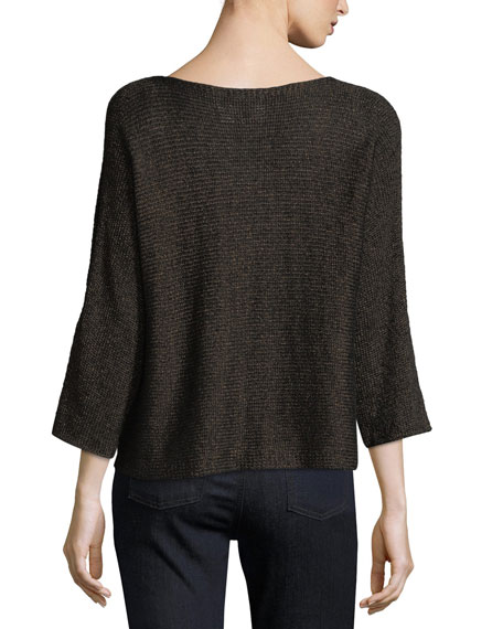 3/4-Sleeve Shimmer-Chainette Top