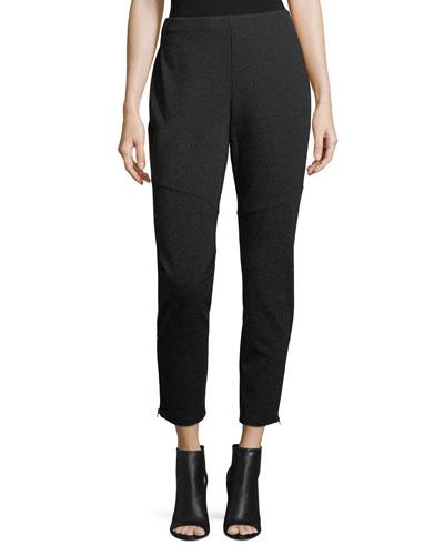 Melange Knit Skinny Ankle-Zip Pants