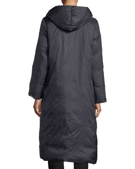Eggshell Hooded Recycled Nylon Parka Coat