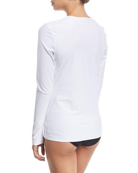 Crewneck Zip-Front Long-Sleeve Swim Top