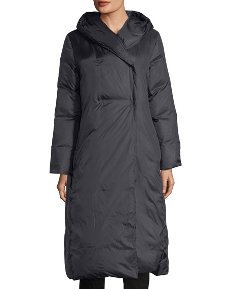 Eileen Fisher Eggshell Hooded Recycled Nylon Parka Coat,