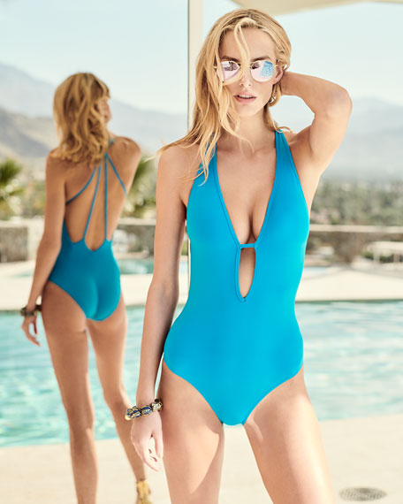 Illuminate Plunge-Neck One-Piece Swimsuit