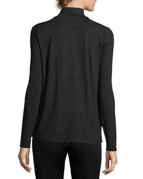 Mock-Neck Long-Sleeve Jersey Top, Petite