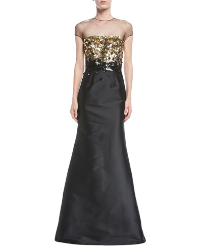 Beekman Sequined Illusion Mermaid Gown