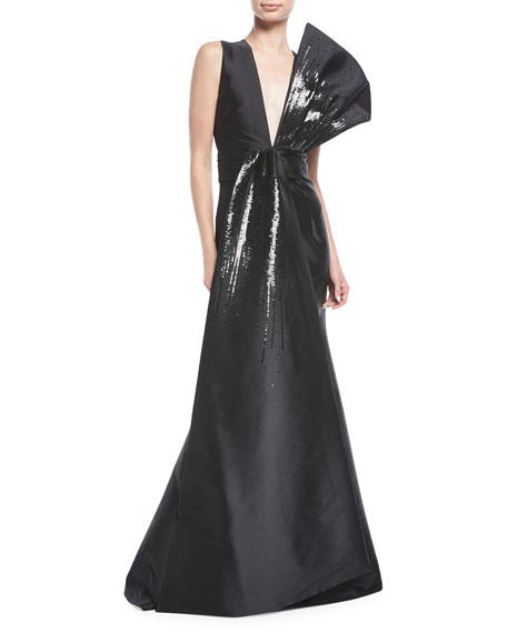 Sachin & Babi Blanche Sequin Flounced V-Neck Gown