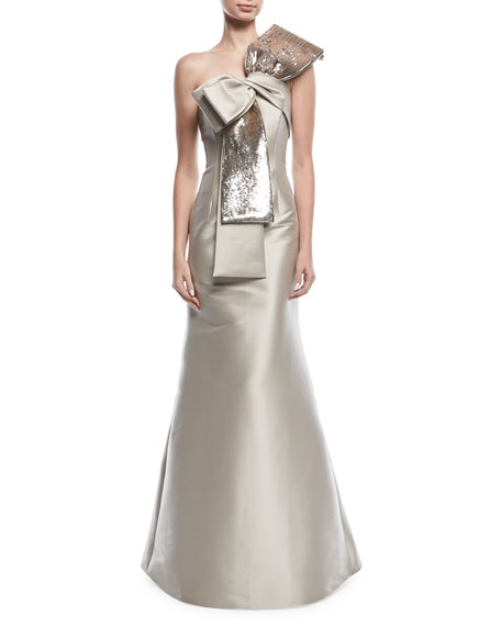Barrie Asymmetric Sequined Bow Gown