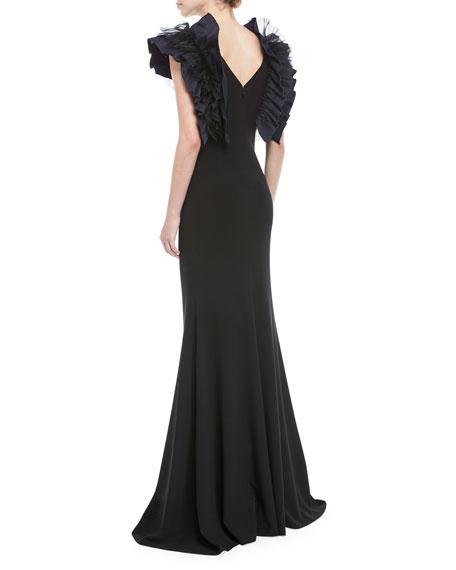 Mirabella Ruffle-Shoulder V-Neck Gown