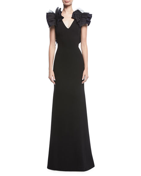 Mirabella Ruffle-Shoulder V-Neck Gown