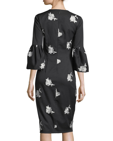 Reese Floral Embroidery Midi Cocktail Dress