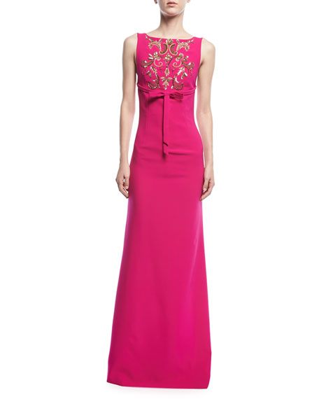 Sachin & Babi Somerset Embroidered Square-Back Gown
