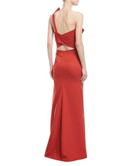 Emmeline One-Shoulder Satin Gown