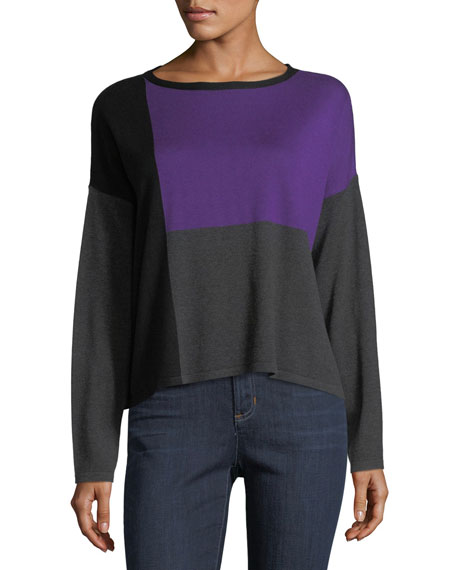 Eileen Fisher Colorblock Box Top, Plus Size