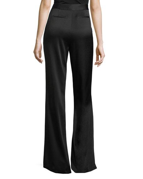 Iris High-Waist Wide-Leg Satin Pants