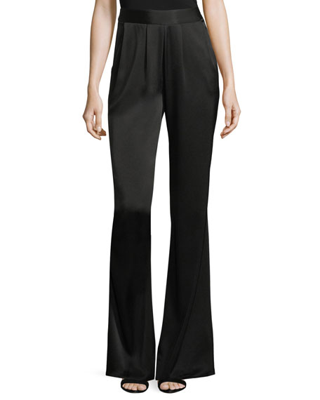 Ramy Brook Iris High-Waist Wide-Leg Satin Pants