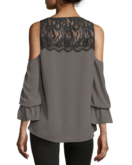 Abigail V-Neck Cold-Shoulder Georgette Top w/ Lace