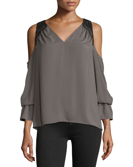 Ramy Brook Abigail V-Neck Cold-Shoulder Georgette Top w/