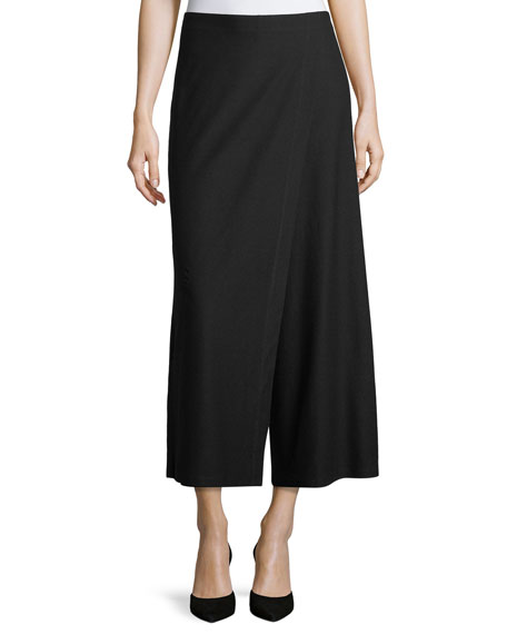 Eileen Fisher Wrap-Front Wide-Leg Crepe Pants
