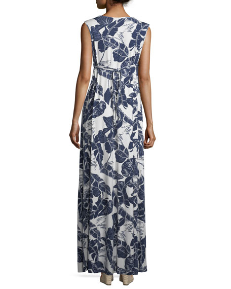 Long Sleeveless Palm-Leaf-Print Dress