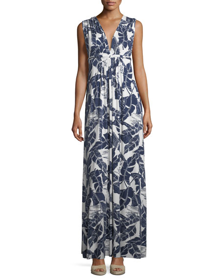 Rachel Pally Long Sleeveless Palm-Leaf-Print Dress