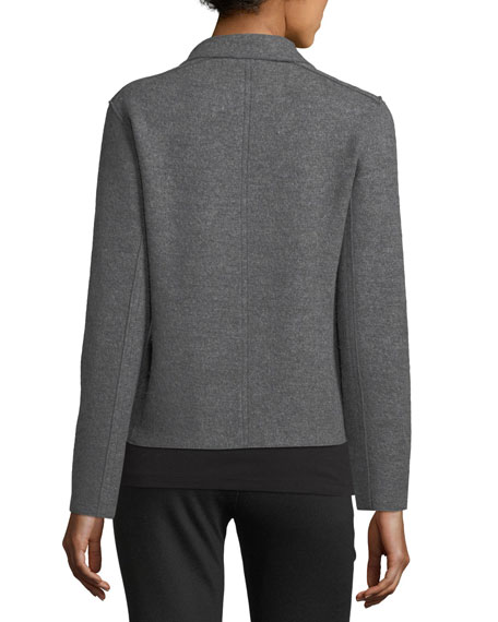 Boiled Wool Moto Jacket, Plus Size